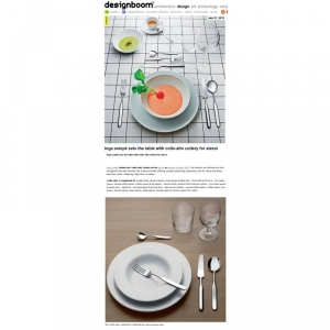 lnga Sempé sets the table wlth collo-alto cutlery for Alessi